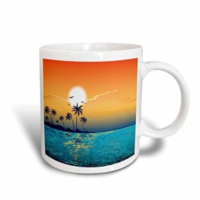 3dローズAnne Marie Baugh Beaches–A Tranquil島シーンagainst a sunset with palm trees and Sparkly Blue...