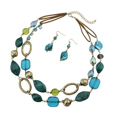 (teal) - Bocar 2 Strand Statement Choker Shell Necklace and Earring Set for Women Gift