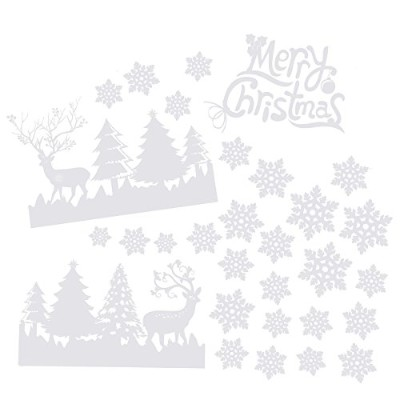 OULIIクリスマスSnowflake Window Clingsデカールメリークリスマスガラスステッカー55x 38cm
