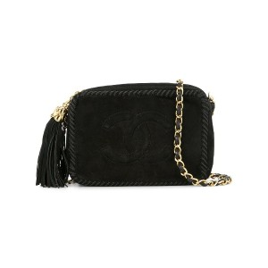 Chanel Vintage tassel logo shoulder bag - ブラック