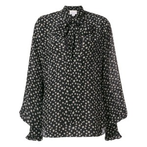 Redemption star print tie blouse - ブラック