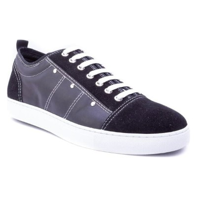 ザンザラ メンズ スニーカー シューズ Zanzara Severn Studded Low Top Sneaker Black Suede/ Leather