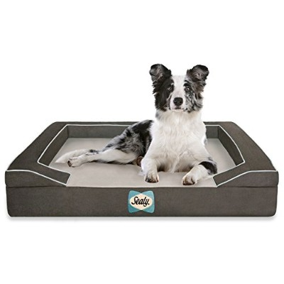 Sealy Dog Bed with Quad Layer Technology, Medium, Modern Gray by Sealy Dog Bed