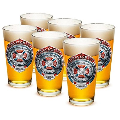 Pint Glasses – 消防士Gifts – Honorサービス犠牲クロームバッジ( 16 oz ) Set of 24 FF2101-M16oz-024