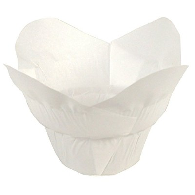 (White) - Lotus Cupcake Liners Parchment Baking Cups for Muffins (100 count) (White)