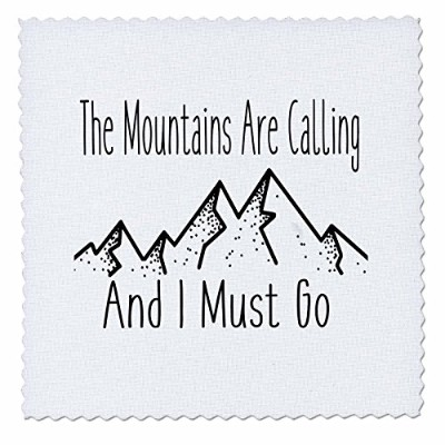 3dローズAnne Marie Baugh – 引用 – The Mountains Are Calling and I must go、ブラックとホワイトMountain – キルト正方形...