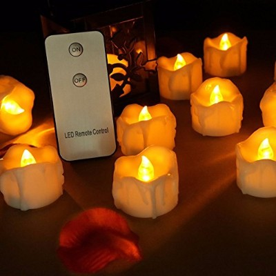 """Flameless LEDティーライトMini Candles withリモートコントロール、Electric Tealights """" Tear Drop """" Drippingスタイルハロウィン装飾..."""