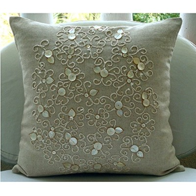 (41cm x 41cm) - Pure Treasures - Throw Pillow Covers - Cotton Linen Pillow Cover with Jute & Mother...