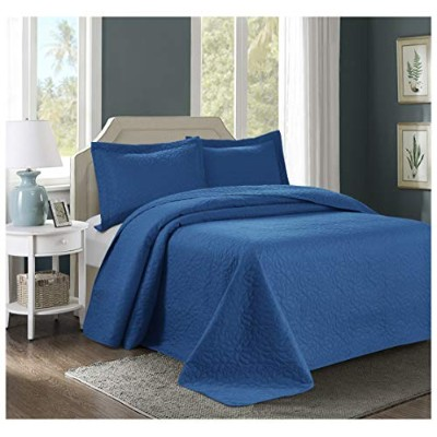3 Piece Tinos超音波エンボスベッドスプレッドset-oversized Coverlet 100 x 106in、118 x 106in クイーン ブルー AT-TINOS-BS-3PC