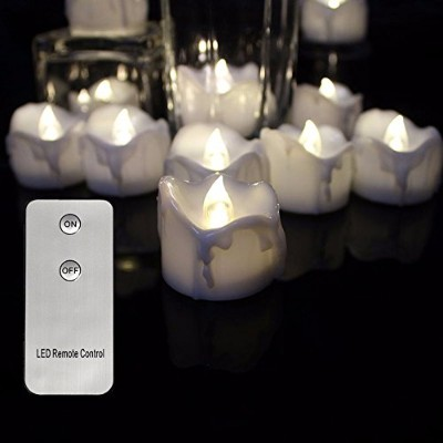 Flameless LEDティーライトMini Candles withリモートコントロール、Tear Drop DrippingスタイルElectric Tealights、Battery...