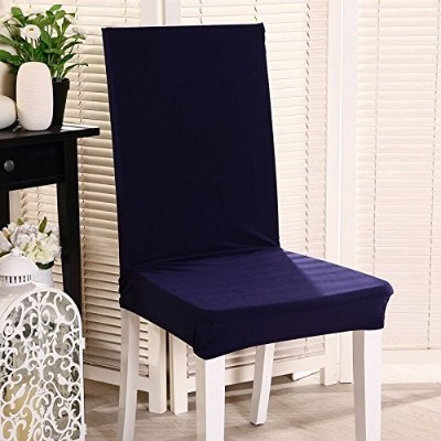 (Set of 4 Navy) - Set of 4 Navy Stretch Chair Slipcovers Polyester Spandex Solid Covers Removable...