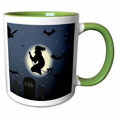 3dローズEdmond Hogge Jr–ハロウィン–Witch On Broom With Bats Flying in Air–マグカップ 11-oz Two-Tone Green...