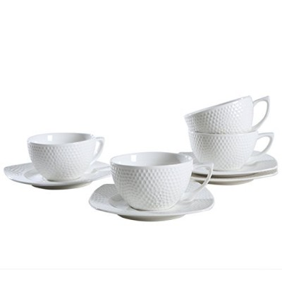 solecasaホワイト磁器/セラミックDemitasse /ティーカップ、コーヒーCup and Saucer Set 3-OZ Cup for Sipping ホワイト AK012+AK013