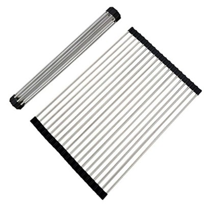 (50cm x 33cm) - Fun-Ker Roll-up Dish Drying Rack Foldable Stainless Steel Over Sink Rack Kitchen...