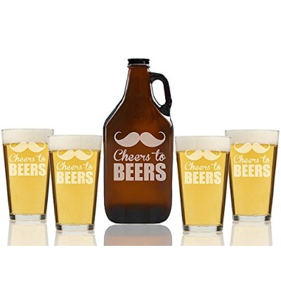 Cheers to BeersビールAmber Growler and Pint Glasses ( Set of 5 )