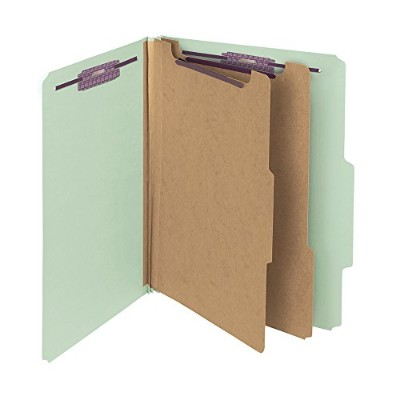 Pressboard Classification Folders, Tab, Letter, Six-Section, Gray-Green, 10/Box (並行輸入品)