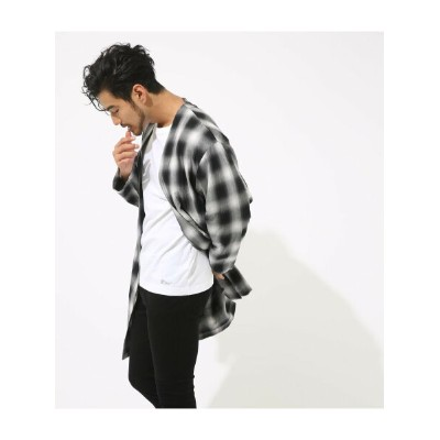 AZUL by moussy オンブレーチェックトッパー アズールバイマウジー ニット【送料無料】