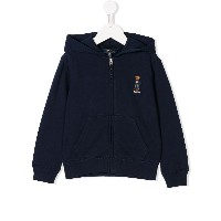 Ralph Lauren Kids embroidered teddy bear hoddie - ブルー