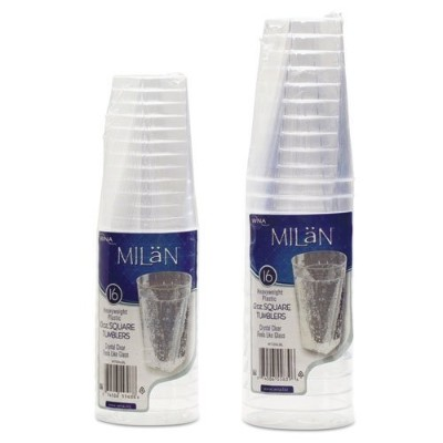 Milanクリアプラスチック10oz Sqaure Glasses 16Per Pack by WNA