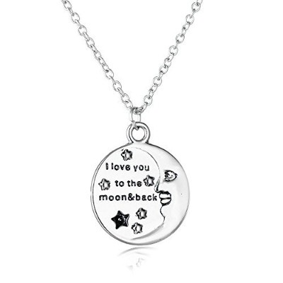 "Muzhe Star and MoonラウンドペンダントPlanet Galaxy Necklacecの女性メンズ"" I Love You To The Moon & Back "" シルバー"