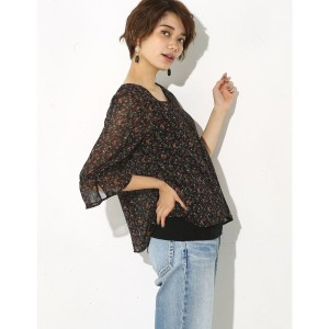 【SALE 55%OFF】【AZUL BY MOUSSY】小花柄五分袖フレアブラウス 柄BLK