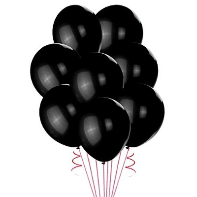 (Black) - Lokman 30cm Black Latex Metallic Balloons 100 Per Unit (Black)