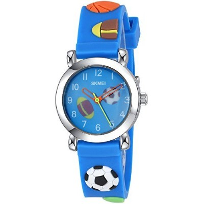 Inwet Kids Time Teacher Watch–The Colors of Childhood–ブルーWatch with 3dクリエイティブストラップ、ソフトとライト