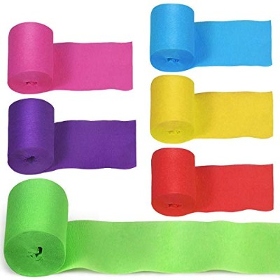 24 Rollsクレープ紙Streamers Party Streamers Crepe Paper Streamer Rolls誕生日ウェディングGraduated Feativalパーティー紙装飾...
