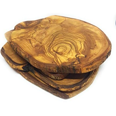 Olive Wood Coasters 100% Natural - Set of 4 - Handmade - With a Special Gift Box