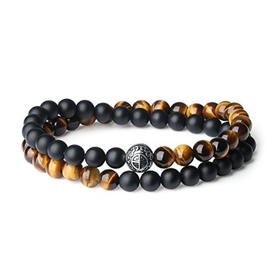 (Blessing Bracelet) - coai Double Layer 925 Sterling Silver 'Asia Blessing' Bead Onyx Tigers Eye...