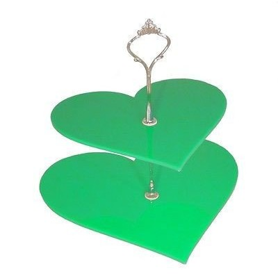 Large 2 Tier Green Acrylic Heart Cake Stand 25cm 30cm Overall height 24cm