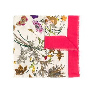 Gucci floral printed scarf - ホワイト