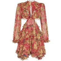 Zimmermann Melody cutout floral-print silk-crepe mini dress - レッド