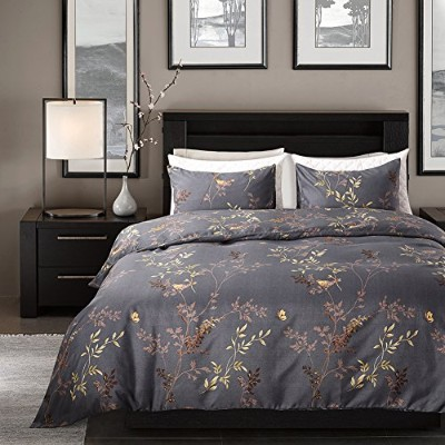 (Queen, Colorful) - Duvet Cover Set Blue and Yellow Birds and Plants Floral Pattern Queen-(230cm x...