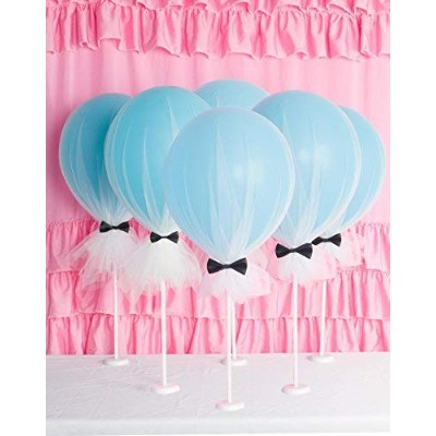 (6set, blue tulle) - Suppromo 30cm Party Latex Balloons Light Blue Clear Balloons With Column Base...