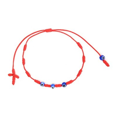 Lucky Charms USA Red String Evil Eye縄目ブレスレットwith Cross