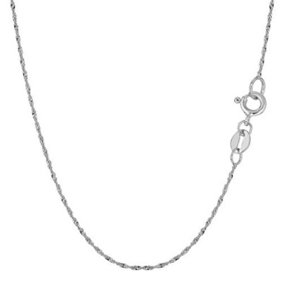 10k White Gold Singapore Chain Necklace, 1.0mm, 20""