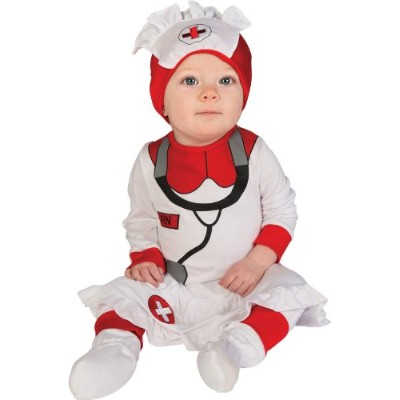 Rubie's Costume Baby's First Halloween Nurse Printed Jumper With Attached Skirt Hat and Booties,...