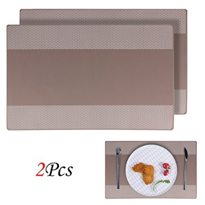 (European 2pcs) - Placemats, EYGOO 2pcs Silicone Table Mats Reversible Pattern Place Mats for...
