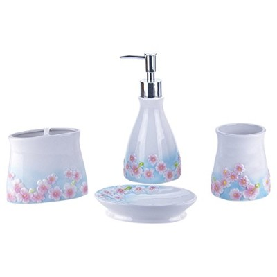 4 Piece Bathroom Accessory Set- Toothbrush Holder, Tumbler, Soap Dispenser, and Soap Dish