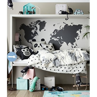 (White) - Kids Explorer Bedding World Map 2pc Twin Duvet Cover Set 100% Cotton Animal Map Adventures...