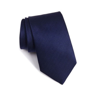 イートン ネクタイ Herringbone Textured Silk Tie Navy