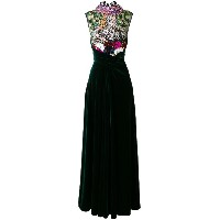 Talbot Runhof embellished velvet evening dress - グリーン