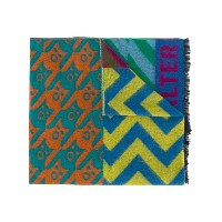 Walter Van Beirendonck mixed weave patchwork style scarf - グリーン