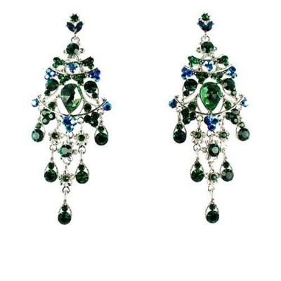Green on Silver Plated Long Chandelier Earrings