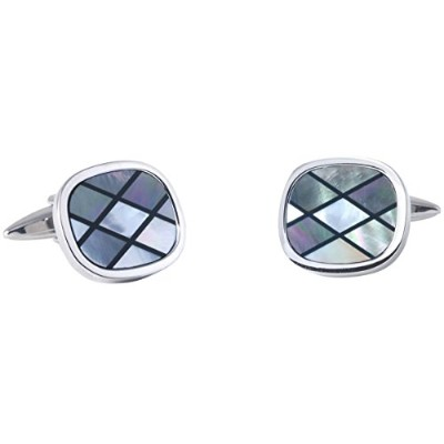 Silver/Grey Diamond Mother of Pearl and Onyx Striped Cufflinks by David Van Hagen