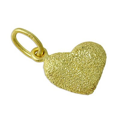 Frosted 18ct Gold Dipped Sterling Silver Puffed Heart Charm
