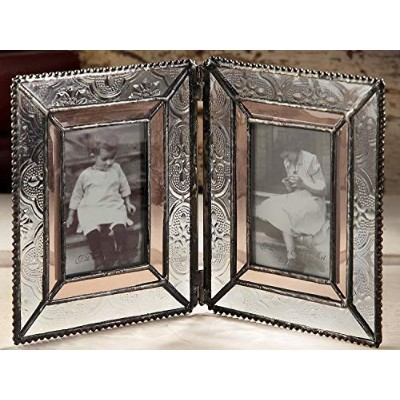 J Devlin Pic 172-2 Double Picture Frame Table Top 2x3 Photo Frame Champagne and Vintage Glass Frame...