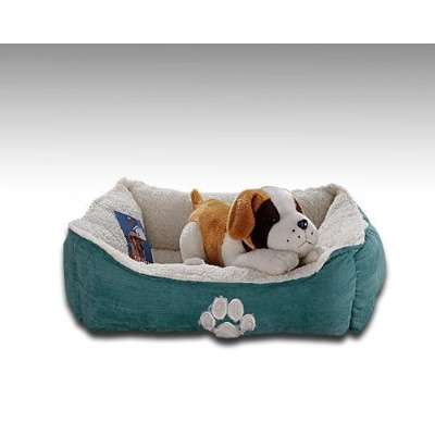 Sofantex Paw Print Pet Bed, 25-Inch, Blue Outside and Sherpa Inside by Sofantex
