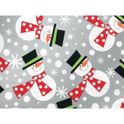 Metallic Silver POLKA DOT SNOWMEN Snowman Christmas Gift Wrap Wrapping Paper - 16ft Roll by Premium Quality Gift Wrap Paper